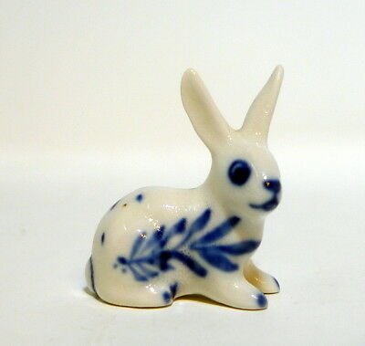 Vintage Delft Miniature Bunny Rabbit White Cobalt Blue White Trinket Shadow Box