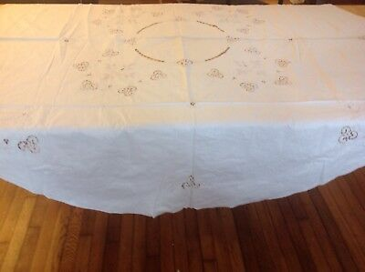 """Vintage Off White Ivory Tablecloth with Crochet & Embrodery, Round 65"""""""