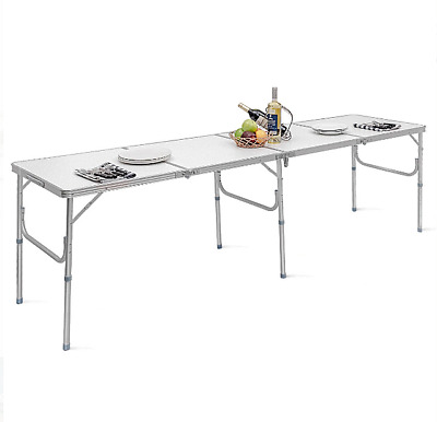 Portable 8 Ft Folding Aluminum Table Indoor Outdoor Camping Party Picnic White