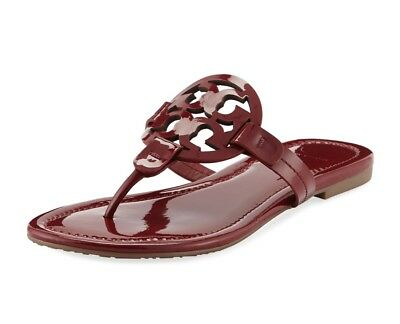 ab7d7206c019e NEW Tory Burch Miller Logo Thong Sandal Dark Redstone Red Patent Leather 6.5
