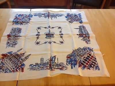 "Vintage Thick Linen Card Tablecloth Scenes of London Buildings, 33"" Sq"