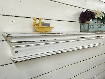vintage style mantle, shabby chic floating shelf, farmhouse mantle, 48 inches