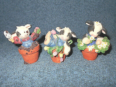 """1996 Mary's Moo Moos 2 1/2"""" Flower Pot Cow Figurines Lot Of 3 By Enesco - Nice"""