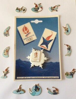 Lot 13 Pin's Albertville Winter Games 1992 Great Set + Official Snowflake Card