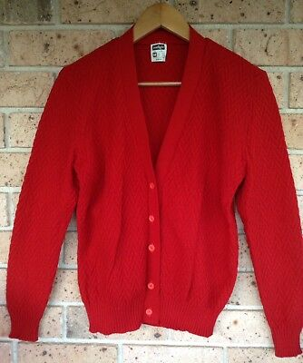 Vintage 60's Cardigan Bright Red Size M Cardi Jumper Jacket Knitted Top Retro