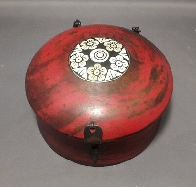 Vintage Chinese-Style Round Domed Wooden Box with Bone Inlay