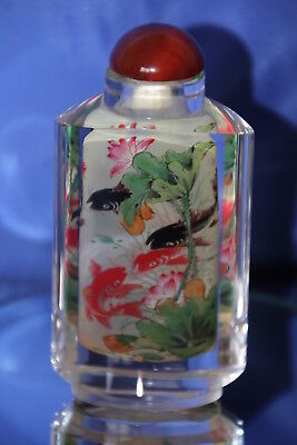 Chinese Reverse Painted 9.5 cm High 2 Panel Snuff Bottle Koi Fish