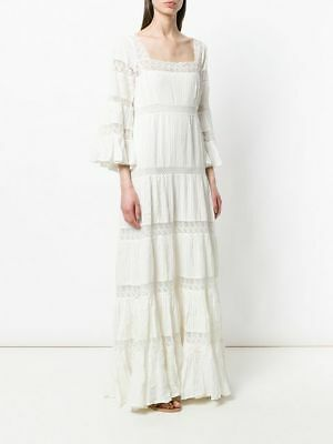 BNWT MES DEMOISELLES LACE INSERT COTTON MAXI DRESS IVORY UK 8 & 12 Available