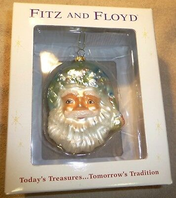 Fitz & Floyd Crystal Winter Santa Claus Christmas Tree Ornament Figurine
