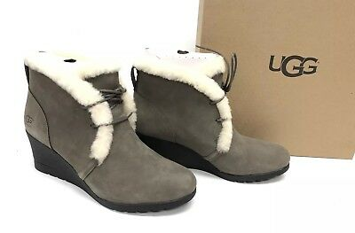 03bd5465697 UGG AUSTRALIA JEOVANA Boots Black Suede Waterproof WP 1017421 Wedge ...