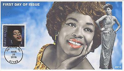 Jvc Cachets-2016 Sarah Vaughan Issue First Day Cover Black Heritage Jazz Music 2