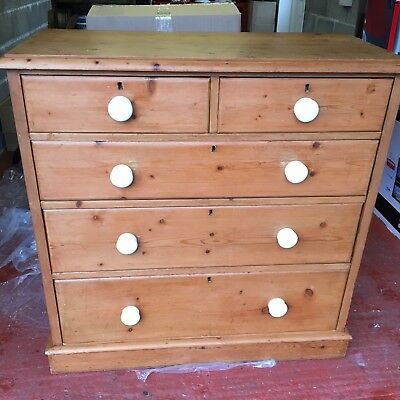 Stunning Antique Vintage Pine Chest Of Drawers Cupboard With White Handles