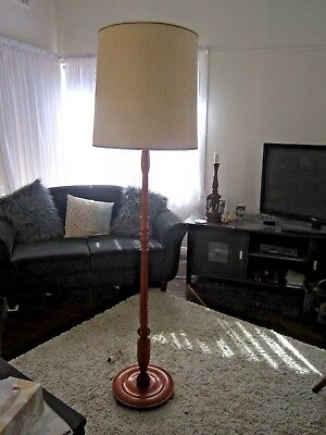 Vintage Very Retro Timber Standard Floor Lamp With Ivory Shade