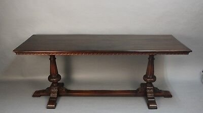 Antique Spanish Revival Long Walnut 1920's Carved Console Table (11563)