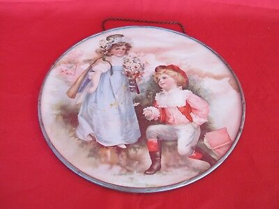 Antique Victorian Boy & Girl Proposing Chimney Flue Cover Stove Pipe