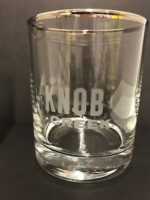 Two (2) New Knob Creek Bourbon Whiskey glasses etched logo silver rim 8 oz