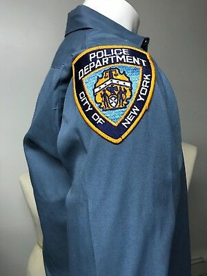 Retired Vintage Park Coats NYPD Police Shirt with Patch 16 x32/33