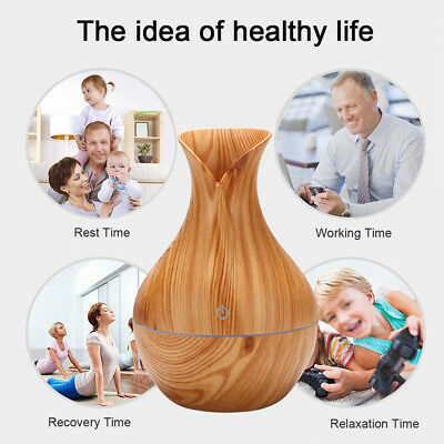 Aroma Aromatherapy Diffuser Oil Ultrasonic Mist Air Humidifier Wood Vase