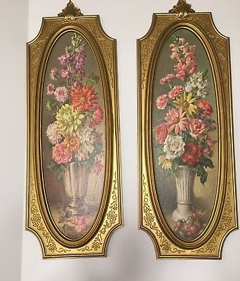 Pair Of Vintage Wall Art  Dart Industries 1964 Home Decor Floral Prints
