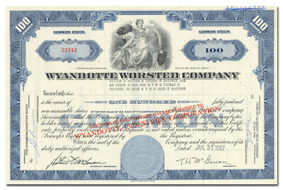 Wyandotte Worsted Company Stock Certificate (Maine)