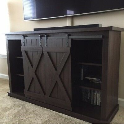 New Rustic Tv Stand With Sliding Front Barn Doors For Tvs Up To 60