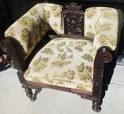 High End 19Th Century Aesthetic Eastlake Victorian Walnut Ebonized Parlor Chair