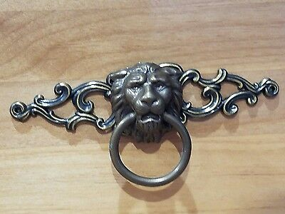 Drawer Pull VINTAGE Lions Head Brass finish 4 sets, 8 pieces. Bought new in 1964