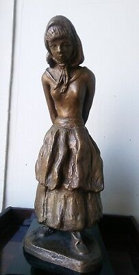 Rare Antique Vintage Roman Bronze Works Bronze Sculpture Statue Peasant Girl 16""