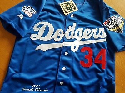 ... new style los angeles dodgers 34 fernando valenzuela majestic ws patch  sewn jersey mens c607b 40912 7fed27525