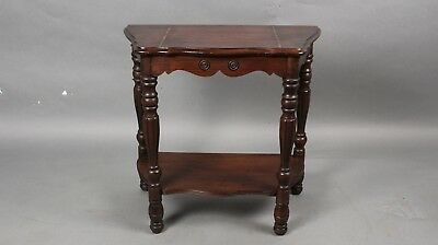 Antique Small Spanish Revival 1920's Side Table With Shelf & Inlaid Top (11614)