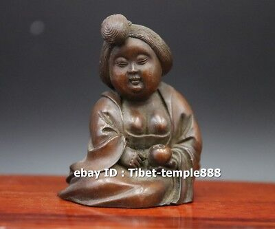 7 CM Chinese red Copper Ancient Tang Dynasty fat women girl play chess sculpture