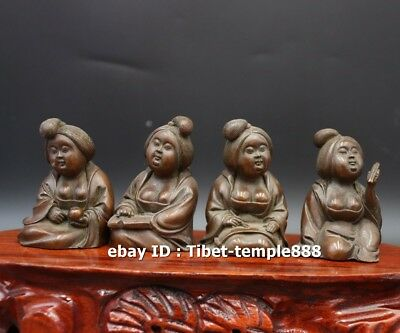 7 CM Chinese red Copper Ancient Tang Dynasty Four fat women girl lady sculpture