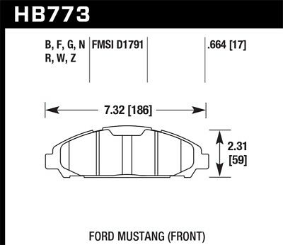 hawkHB8 Hawk for 15-17 Ford for Mustang Brembo Package DTC-50 Front Brake Pads