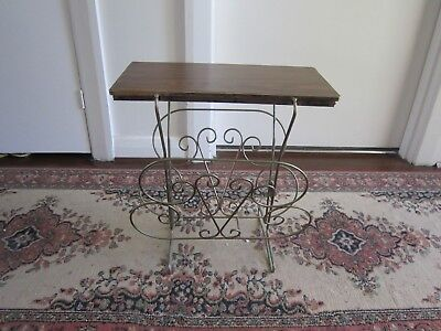 Ornate Vintage Retro Art Deco Timber And Metal Side Table With Magazine Rack