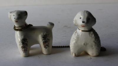 French Poodle Dog Figurines Ceramic-Porcelain-Miniature-Hand Painted-Set of 2