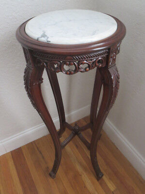 French Style Mahogany Carved Wood Table Plant Stand Marble top
