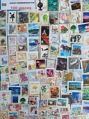 Japan Commemorative Kiloware Used Stamp on Paper 100 Stamps Mixture Lot. No.50