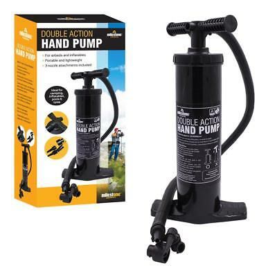 Milestone Camping Double Action Hand Pump - Black
