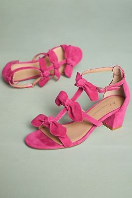 26bcb190874 ANTHROPOLOGIE Suede Bow Pink Black Yellow T-Strap Open-toe Sandals Sz
