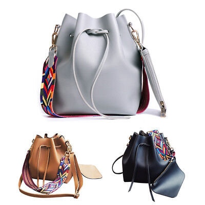 1X(Women bag with Colorful Strap Bucket Bag Women PU Leather Shoulder Bags J2R6