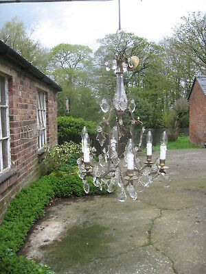French Antique  6 Branch Chandelier & Crystal Drops /4041