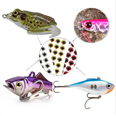 100pcs Fishing Lures Eyes 3D Holographic Eye Fly Tying Jigs Crafts, 3 Colors