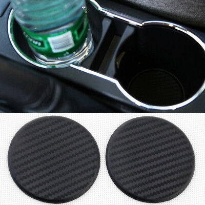 2Pcs Auto Car Water Cup Slot Non-Slip Carbon Fiber Look Mat Accessories Decor