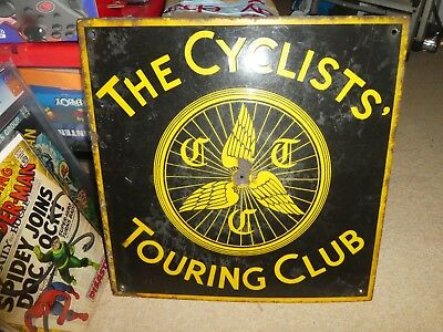 The Cyclists Touring Club Sign Vintage circa 1910 ? enamel bikes cycling