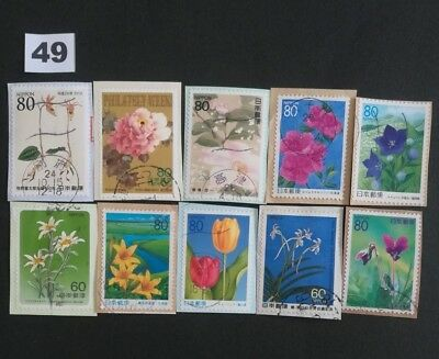 Japan Commemorative Japanese Flowers Used Stamps On Paper Lot.49