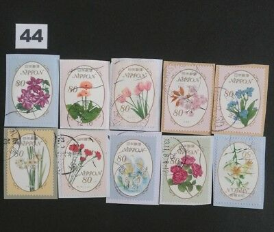Japan Commemorative Japanese Flowers Used Stamps On Paper Lot.44
