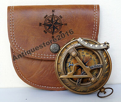 Antique Brass Sundial Compass Stanley London w Handmade Leather Case Great Gift