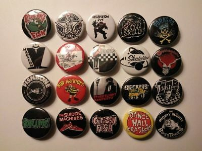 20 X SKA PUNK band badges/buttons(specials,madness,sublime,skatelites,thebeat)