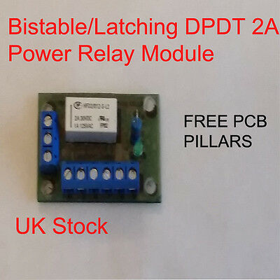 Bistable/Latching DPDT 2A Power Relay Module 12v - 20v