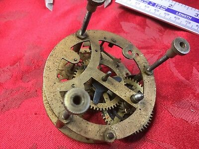 Small Clock Movement 66mm Dia Pin Pallet For Spares Or Repair